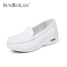 SUNROLAN 2017 Spring Women Flat Platform Cut-out Shoes Fashion White Nursing Shoes Slip On Loafers Women Shape Up Shoes PP8017