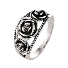 Lady Vintage Unique Thailand Silver color Rose Rings Compatible Bohemia Cocktail Ring