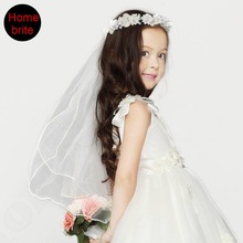 Girls First Communion Mantilla Halloween Dress Up fairy Flower Tiara Wreath With 64cm Long Veil Party Wedding Supplies 1PC PT103