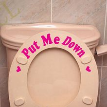 Free shipping PUT ME DOWN Funny Bathroom Toilet stickers , Toilet seat remined sign viny decals , 2 styles you can choose(China)