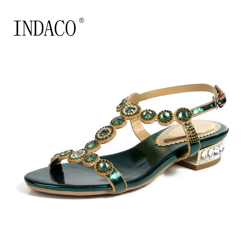 Women Green Rhinestone Sandals T-strap Square Heel 2.5cm Low-heeled Sandals Party Shoes Back Buckle Small Size 33 34<br>