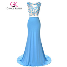 Real Picture Long Blue Mermaid Prom Dresses 2017 Grace Karin Micro Fiber Beading Flowers Formal Dress Elegant GK000049