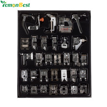 32pcs Home Domestic Sewing Machine Presser Foot Feet Kit Set With Box For Brother Singer Janome DIY Sewing Machine Accessories(China)