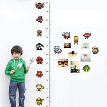 % 3D Cartoon Movie Avengers Height Measure Chart Wall Stickers For Kids Rooms Decals Art for Nursery Home Decoration Poster