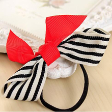 White Stripe Bowknot Bows Elastic Hair Rope Bands Headbands for Girls Headwear Hair Accessories for Women