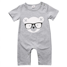 Summer 2017 Short Sleeve Bear Cotton Jumpsuit Toddler Kids Outfits Cute Newborn Baby Boy Girl Rompe(China)