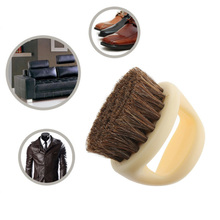 Behokic NC Portable Round Shaped Horse Hair Shoe Leather Shoes Shine Care Cleaning Polishing Dusting Home Cleaner Brush Tools