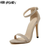 ABB Fashion Black Gold Silver Women Sandals Heels Sexy Lady Open Toe High Heel Gladiator Outdoor Beach Shoes Sandalias Mujer