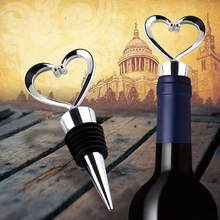 1Pcs Stainless Steel Elegant Heart Shaped Red Wine Champagne Collection Twist Wine Bottle Stopper(China)