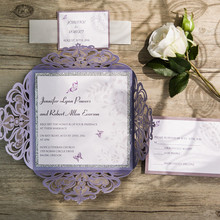 Butterfly Lavender Silver Glittery Hollow Wedding Invitations Custom Wedding Cards Free RSVP 100 Free Shipping