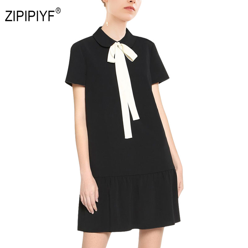 Cute Grils Dresses women Ribbons Wrap peter pen collar Drapped retro Short dress straight Student elegant black vestidos AB436