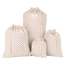 Neoviva Durable Cotton Canvas Storage Bags for Clothing, Set of 4 in Different Sizes, Polka Dots Beige Laundry Storage Pouch Bag(China)