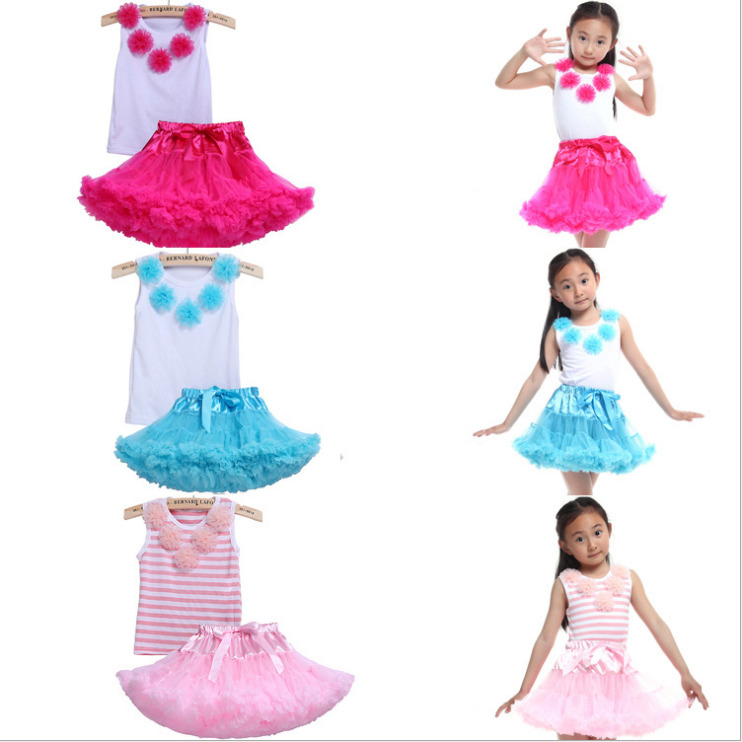 2017 Baby Girl Hot Flower Top+Skirt Tutu Outfit Costume Clothing Set Party Dancewear Tops+Skirts  Girls Toddler Clothes Vestidos<br>