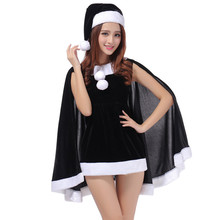 2016 New Red Black Green Santa Claus Xmas Dress Adult Women Party Dress Sexy Unique Christmas Costume High Quality