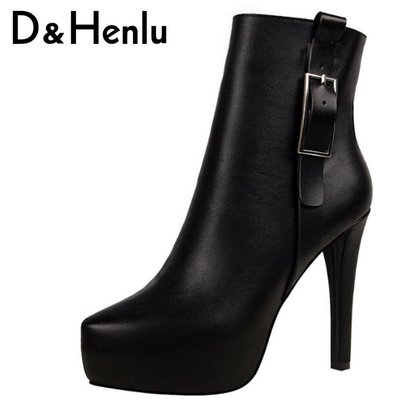2018 Autumn Buckle Platform Short Boots Women Pointed Toe Thin Heel Martin Boots 11.5cm High Heel Brand Shoes Woman<br>