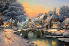 1 piece HD new Thomas Kinkade Cobblestone Canvas Print Home Christmas decoration for home Living Room Wall Art painting\C-472(China)