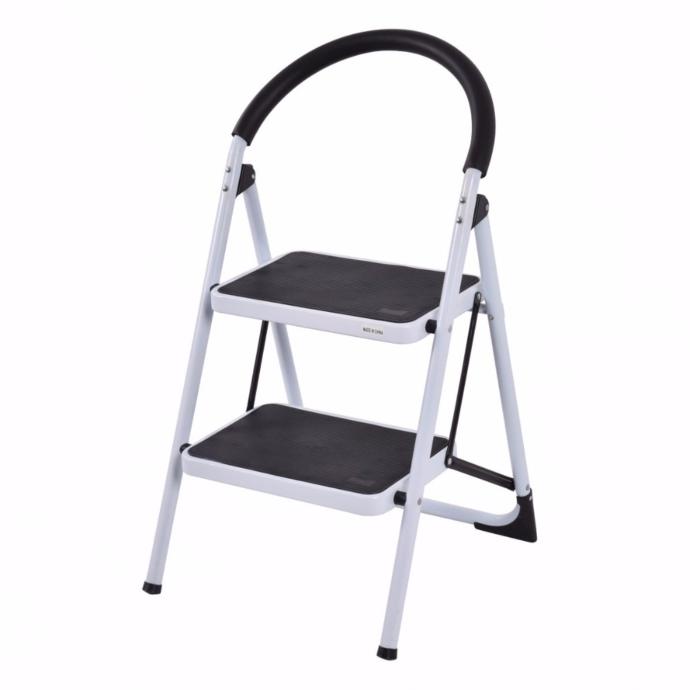 Giantex 2 Step Ladder Folding Stool Portable Heavy Duty 330Lbs Capacity Chairs Industrial Lightweight Foldable Ladders TL32763<br>