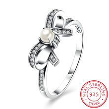 Ladies Bow Tie Ring with White Pearl & Clear CZ Original Fine Jewelry issued bowknot Ring for Girl with Pearl jewelry gift