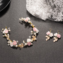 fashion women Crystal Baroque pearl hair bands Golden leaves Crown bride headband wedding jewelry Flower hair accessories gift