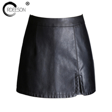 Buy ORDEESON Short Pants Mini Skirt Skirts Leather Skirt Plus Size Faux Leather Winter Black High Waist Skirts Womens M-XXXL Solid for $24.13 in AliExpress store