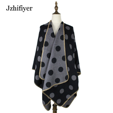 jzhifiyer poncho feminino inverno 450grams women poncho polka dots pattern acrylic scarf ponchos and capes open reversible wrap(China)