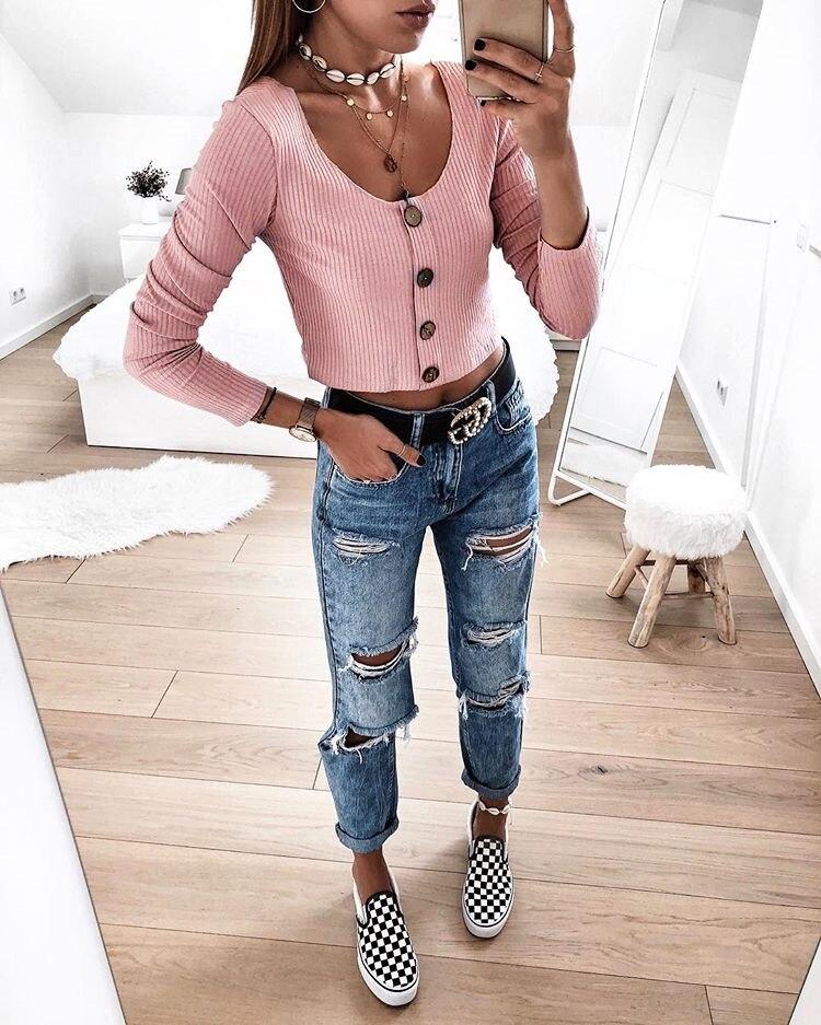 Crop Top Women Long Sleeve Button O-neck Spring Summer T Shirt Women Sexy Camiseta Mujer Women Tshirt Tee Shirt Femme 2019 Tops4