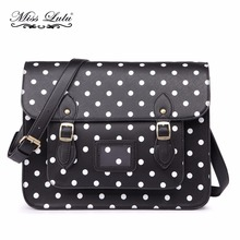 Buy 1 Get 1 at 50% Off Miss Lulu Women Messenger Bags Polka Dots Leather School Bags Large Cross Body Bags Girls Satchel LT1665(China)