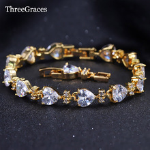 ThreeGraces Fairy Style Bridal Jewelry Gold Color Heart Connected Cubic Zirconia Wedding Bracelets For Brides BR111(China)