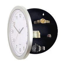 Wall Clock Safe Storage Box Cash Jewelry Toy Storage Bins Decor Creative Security Lock Boxes Silvery for Living Room Bedroom(China)