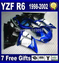 Custom moto fairings kit for YAMAHA YZFR6 1998 1999 2000 2001 2002 blue white YZF R6 98 99 01 02 YZF600 body repair Fairings(China)