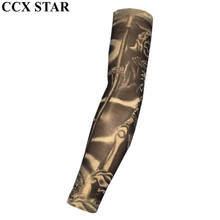 CCX STAR Death & Skull Nylon Fake Tattoo Arm Warmers Oversleeve Temporary Tattoo Arm Sleeves BXT0104(China)