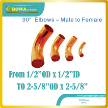 "Male to Female 90' copper elbow from 1/2"" to 2-5/8"" for HVAC/R products and can be mixed buy, pls check with us about details(China)"