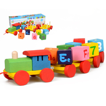 Kids Developmental Toy Colorful Cartoon Rotation Blocks Pulling Train Set With Number Alphabet Cube Classic Wooden Toddler Toy(China)