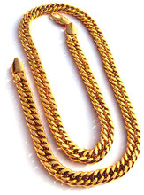 "Noble men's 24k yellow solid gold GF jewellery necklace chain 23.6"" 600mm Unconditional Lifetime Replacement Guarantee"