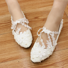 2017 New Women Wedding Shoes High Heels White Lace pearl Sexy Pumps Large Size 35-40 Sapato Feminino Z691 Ladies Bridal Shoes
