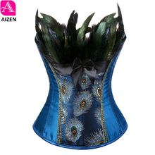 AIZEN feather corsets bustiers tops peacock embroidery brocade burlesque halloween overbust corset pattern womens sexy exotic(China)