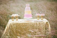 SALE 90''x132'' Gold Champagne Sequin Table Cloth 6 Foot table Rectangle Light Gold  Table Cloths Table Sequin Linens
