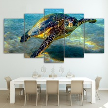 HD Printed 5 Piece Wall Art Canvas Deep Ocean Turtles Canvas Painting Posters and Prints Large Art Print The underwater world