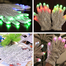 10pcs=5pairs Hot Sell Colorful LED Gloves Finger Lighting Glove LED Paillette Light Night club Disco Gloves party decoration