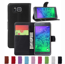 Wallet Case For Samsung Galaxy Alpha G850 G850F PU Leather Kickstand TUP Back Shell Pink Rose Green Purple Blue Black White(China)