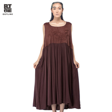 Outline Brand Summer Women Dress Well-Designed Loose Dress Embroidery Vintage Sleeveless Dresses Women Maxi Dress L142Y031