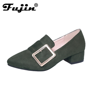 fujin brand spring summer shoes for women wedding Shoes Low Heel square Woman Pumps 3.5 Pointed toe Pump zapatos mujer tacon