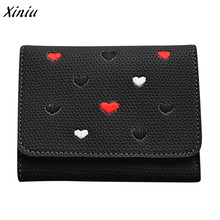 Xiniu Fashion Women Short Wallet Cute Heart Pattern Clutches Tote Ladies Purse Hasp Wallet and Purse carteira feminina(China)