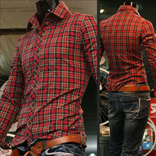 the west mens dress shirts 2014 new design camisas masculinas fashion red lattice best clothing brands for men(China)