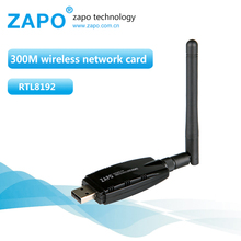 ZAPO 300Mbps USB 2.4G WIFI Lan Adapter Wireless 802.11n Network Card Rotate 2dbi Antenna For All Windows Linux Android System(China)