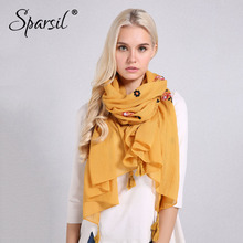 Sparsil Women Solid Color Cotton Linen Scarf Classic Tassel Retro Floral Embroidery Shawls Wrap Autumn New Soft Comfort Pashmina(China)