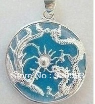FREE SHIPPING****Rare Blue Natural stone Silver Dragon Phoenix Pendant Necklace