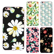 Colorful Flowers Painted Phone Case for iPhone 5 5s SE 6 6s 7 Plus 4 4S 6s Plus Transparent Soft TPU Silicon Cat Dog case cover(China)