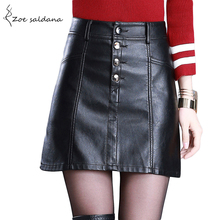 Buy Zoe Saldana 2017 Women Faux Leather Skirts High Waist A-Line Black PU Skirt Female Buttons Mini Skirts for $17.32 in AliExpress store