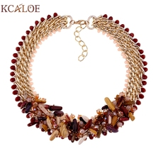 KCALOE Fashion Handmade Natural Stone Necklace Chunky crystal Chain Statement For Women Dress Gold color Vintage Collier Kolye